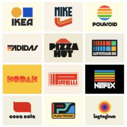 retro design logo colourful famous logomindcorp london